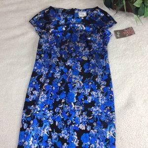 Beige By Eci Floral Shiny Sheath Dress Size 8